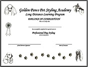 Golden Paws Pet Styling Academy Certificate of Completion