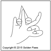 drawing of how to hold the elbows when shaving the stomach